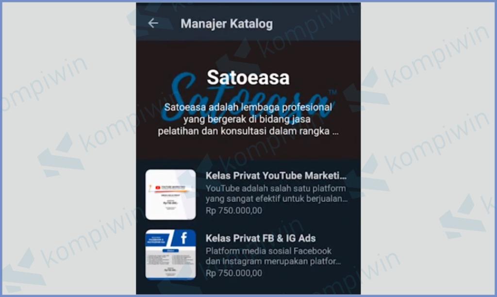 Katalog Akun Whatsapp Business