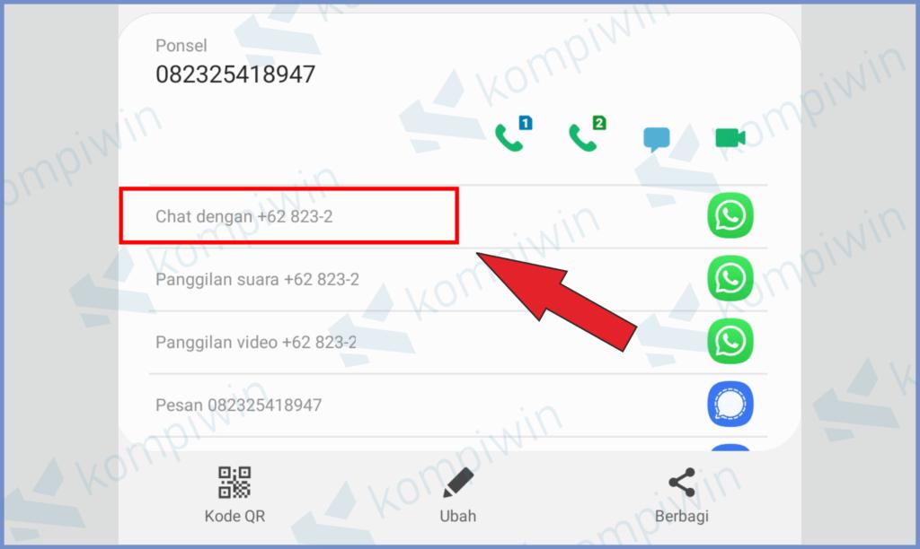 Ketuk Bagian Chat Dengan Nomor Whatsapp