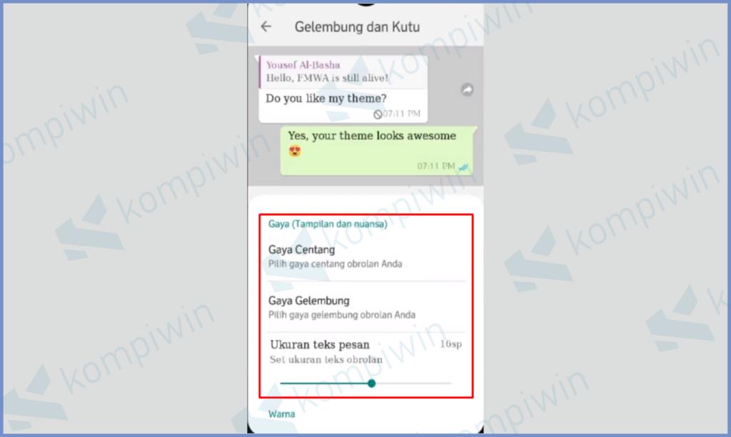 Mengatur Tampilan Chat Termasuk Font
