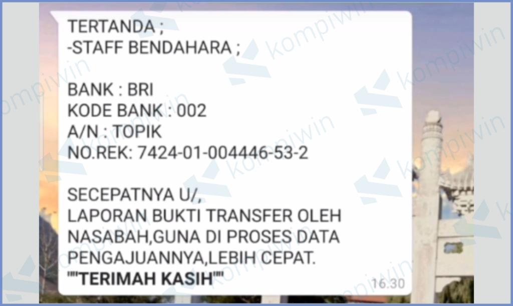 Menyertakan No Rekening Untuk Di Transfer