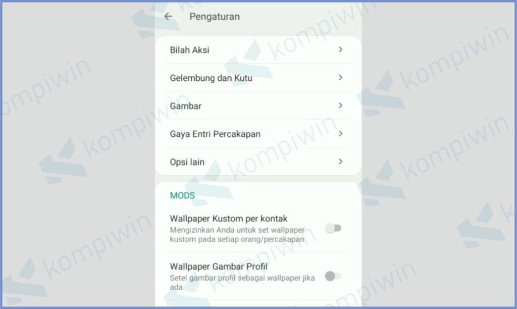 Pengaturan Personalisasi Whatsapp