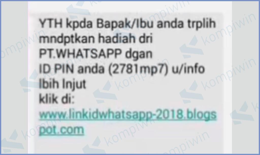 Penipuan Mengatasnamakan PT Whatsapp