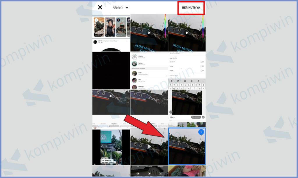 Pilih Video Slow Motion Dan Tekan Berikutnya