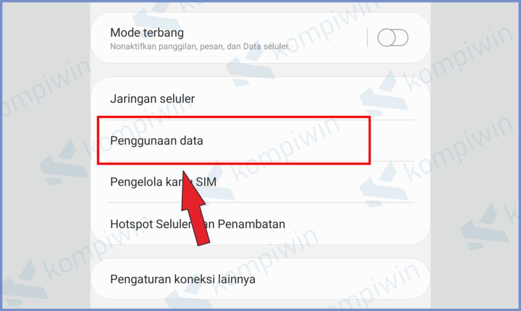 Selanjutnya Pencet Penggunaan Data