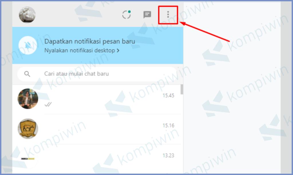 Tekan Menu Tambahan Di Whatsapp Web