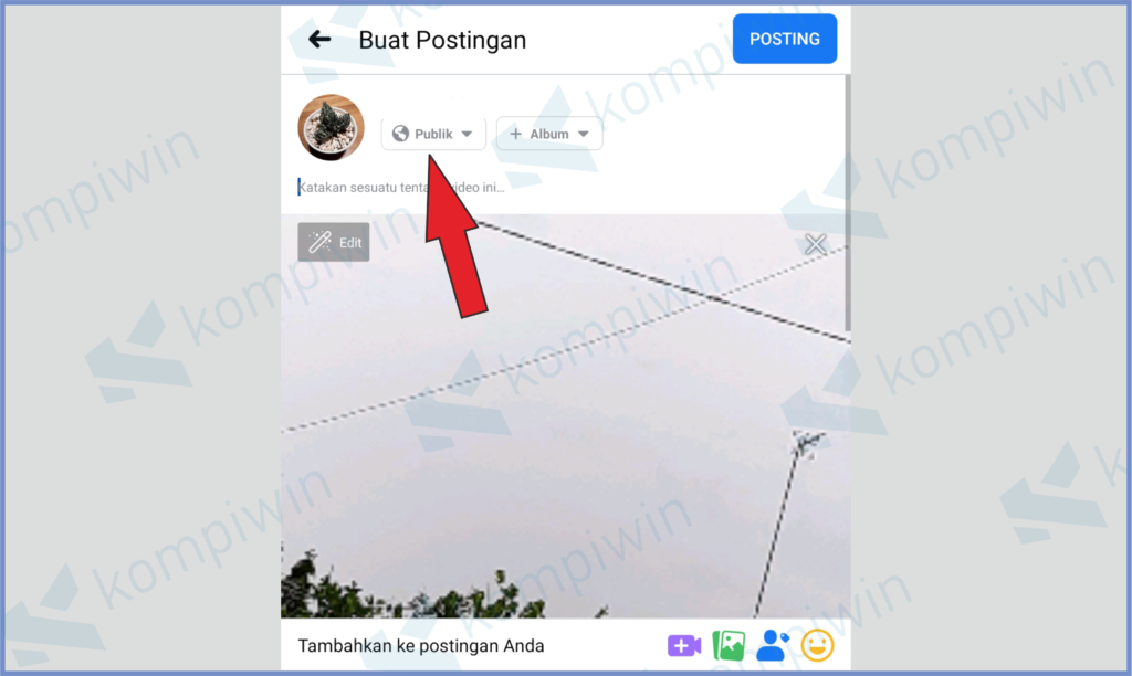 Ubah Mode Posting Jadi Publik Dan Masukkan Caption