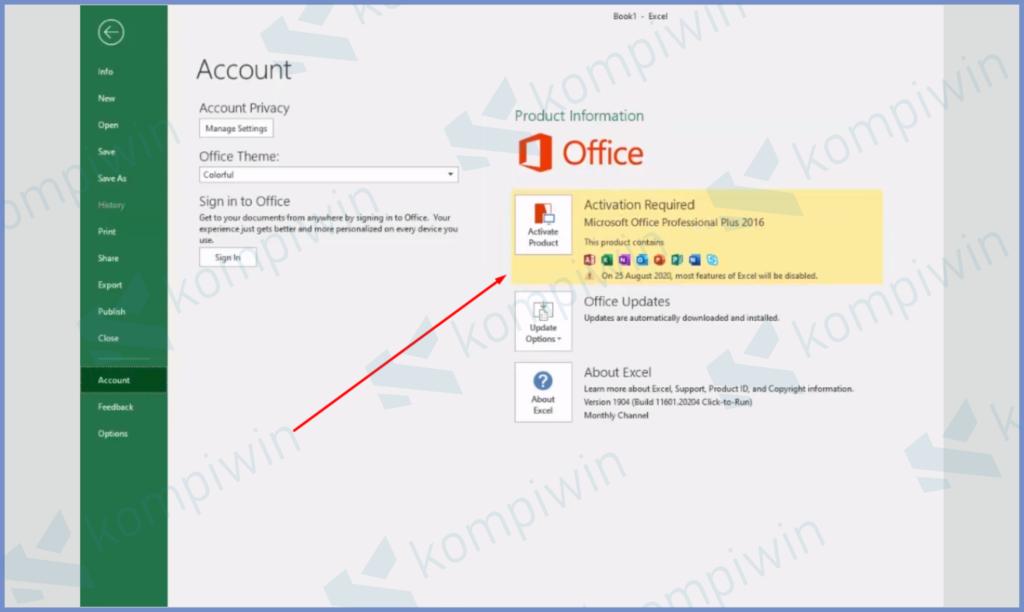 Contoh MS Excel Yang Belum Diaktifasi