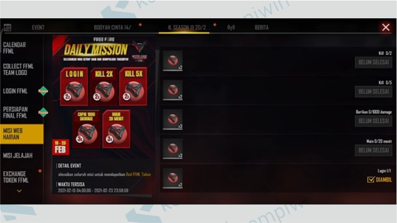 Daily Mission untuk Mendapatkan Red FFML Token - Team Logo Collection FF