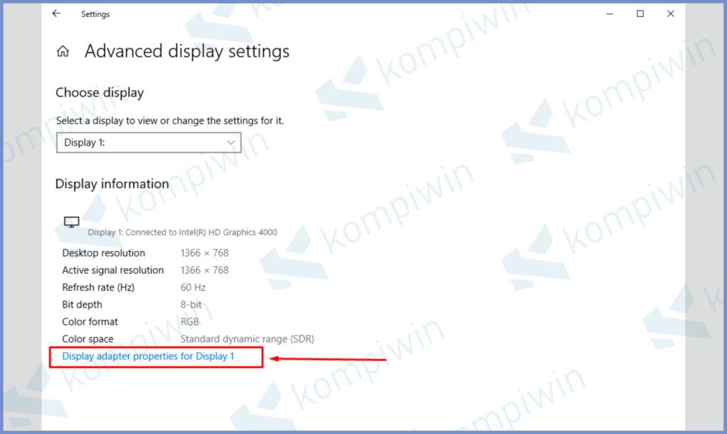 Ketuk Display Adapter Properties