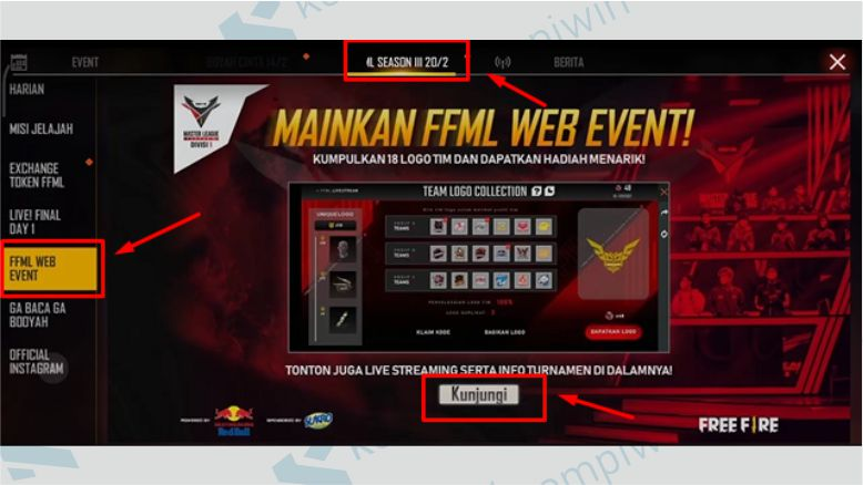 Masuk ke FFML Web Event - Team Logo Collection FF
