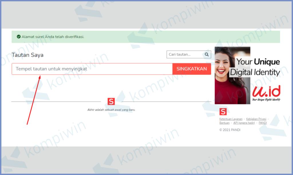 Masukkan Link Asli Di Laman Dashboard Utama