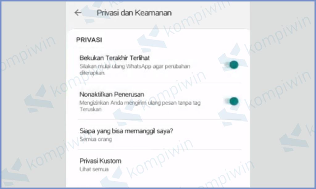 Mengatur Privasi Membekukan Last Seen dan Nonaktifkan Forward