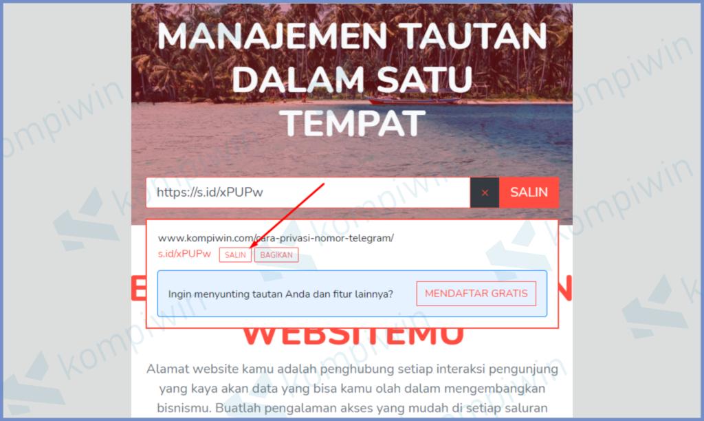 Salin URL Pendek Dan Bagikan
