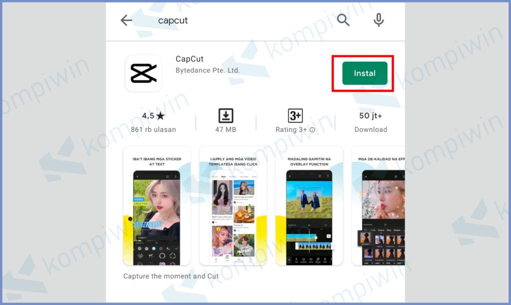 Silahkan Install Aplikasi CapCut
