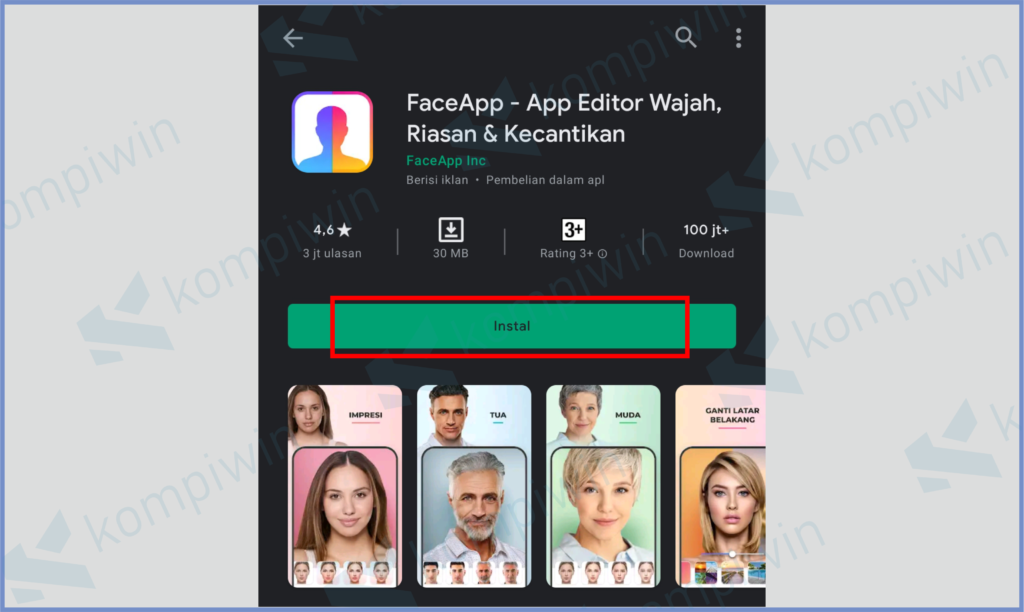 Silahkan Install Aplikasi FaceApp
