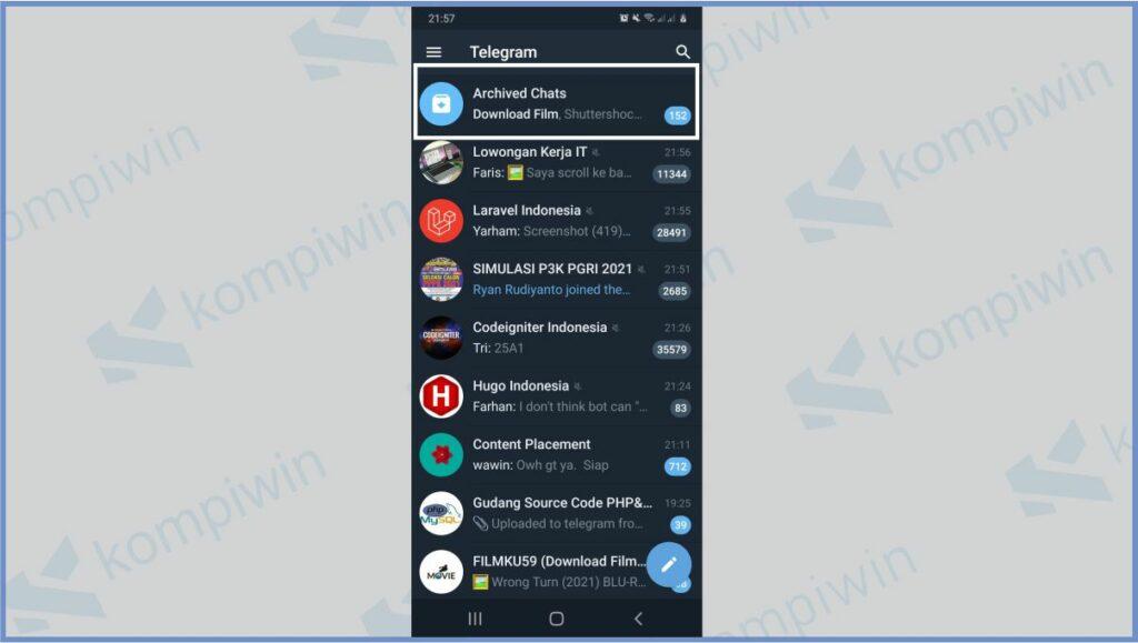 Tap Archived Chats - Cara Membuka Arsip Telegram