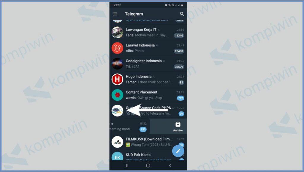 Tap Kiri Untuk Mengarsipkan Chat - Cara Membuka Arsip Telegram
