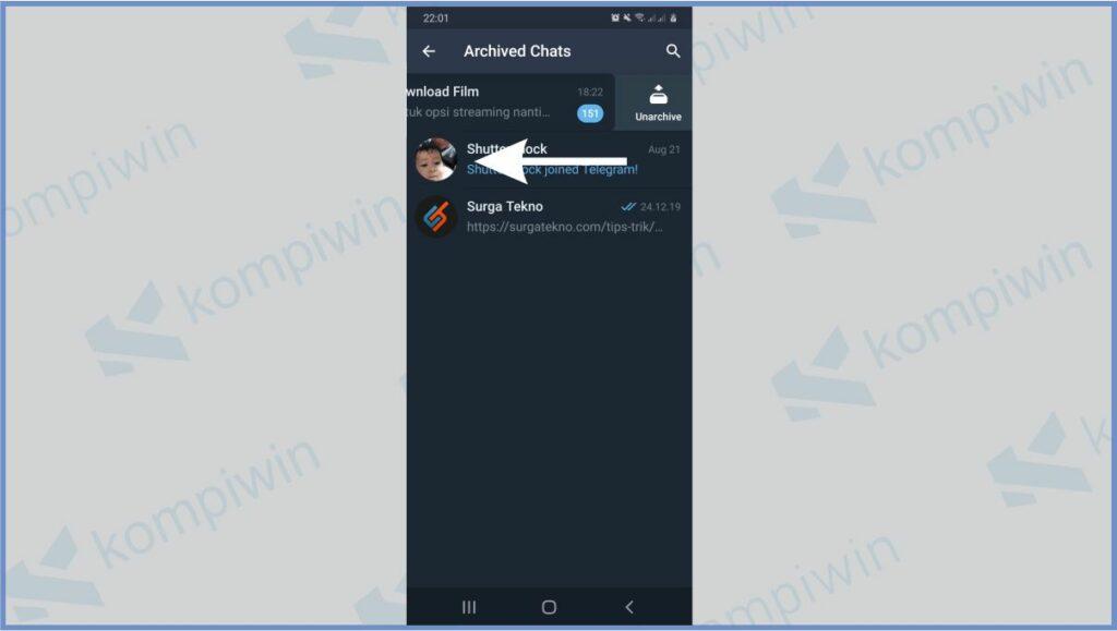 Tap Kiri Untuk Unarchive Chat - Cara Membuka Arsip Telegram