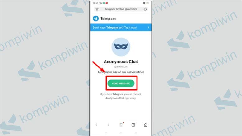 Tap Send Message - Cara VN di Anonymous Chat Telegram