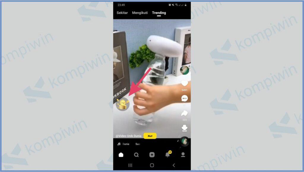Tekan Ikon Rp - Cara Melihat Kode Undangan Snack Video