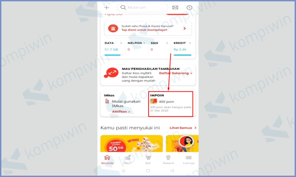 Buka Aplikasi myIM3 Lalu Ketuk Impoin Page