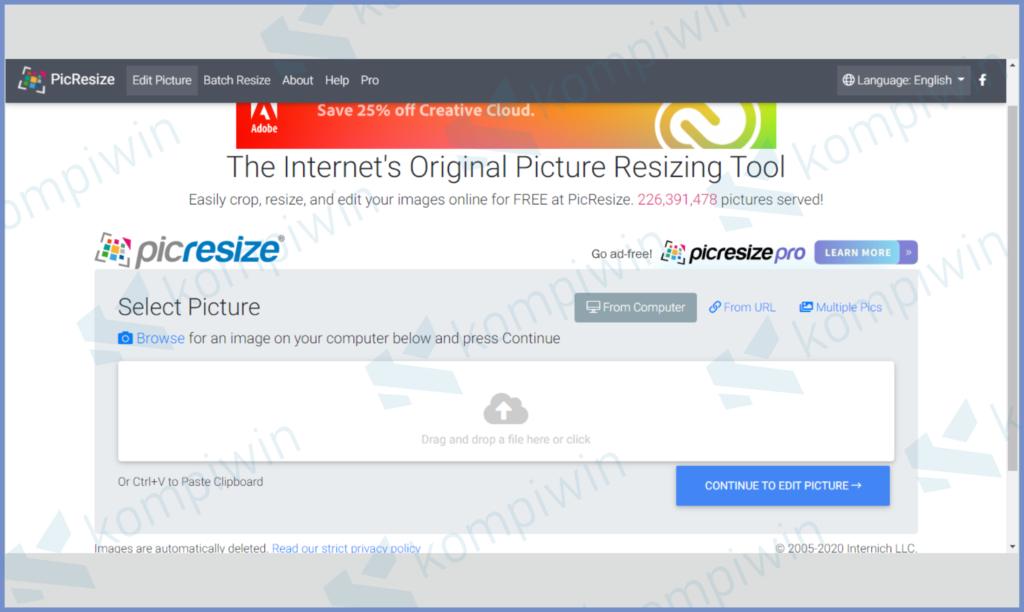 Buka Website PicResize