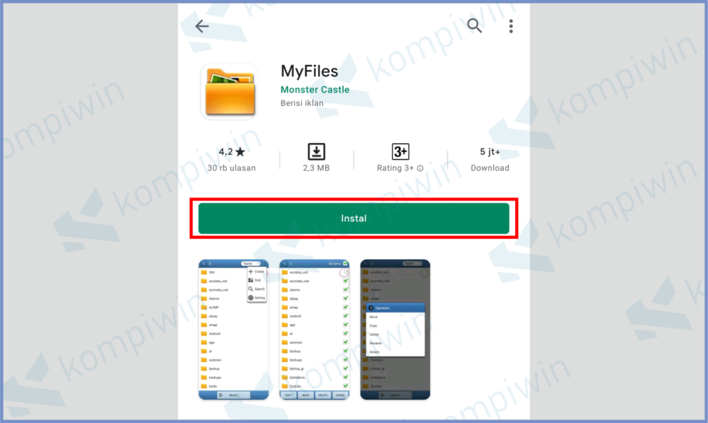 Install MyFiles