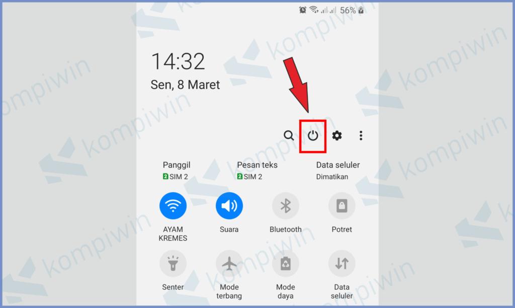 Ketuk Icon Power Pada Notifikasi