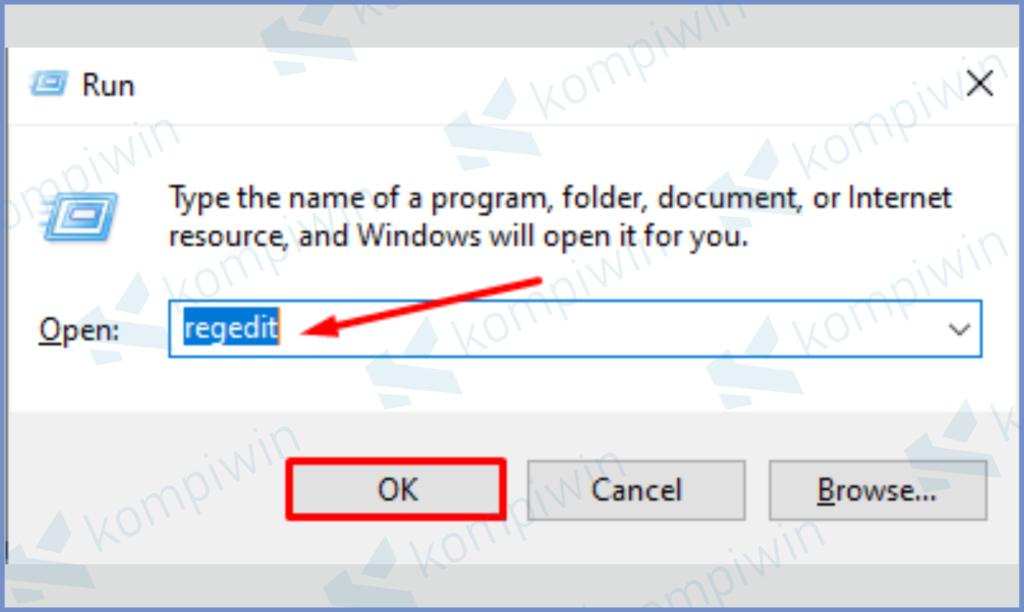 Ketuk Shortcut Windows R Dan Masukkan Regedit
