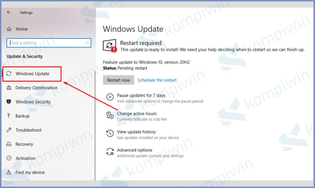 Klik Tab Windows Update