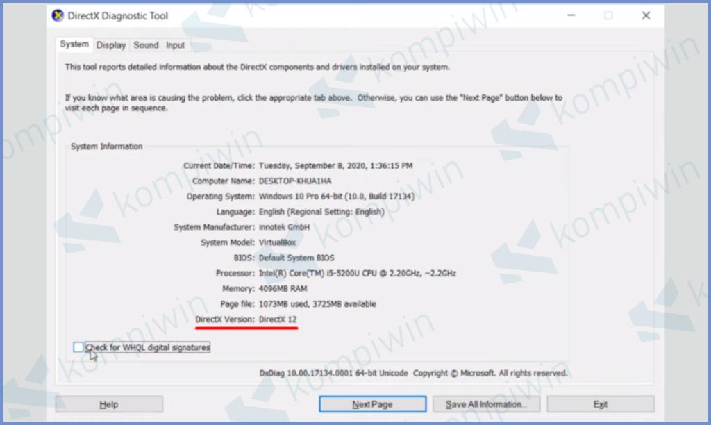 Lihat Versi DirectX Yang Digunakan
