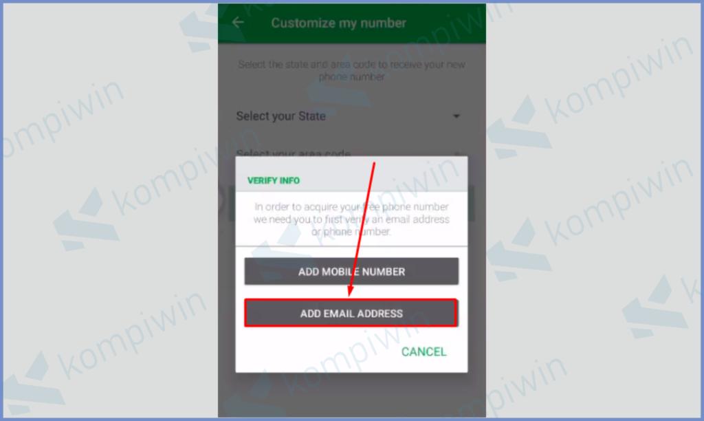 Masukkan Email Sebagai Akun Verifikasi