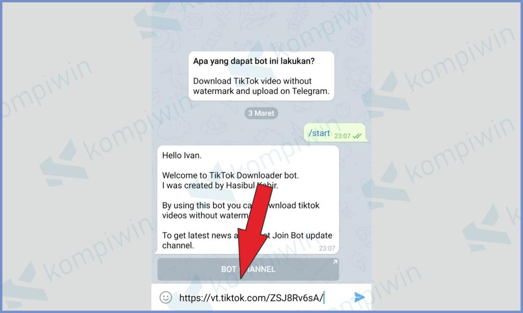 Paste Link Di Kotak Chat Dan Kirim