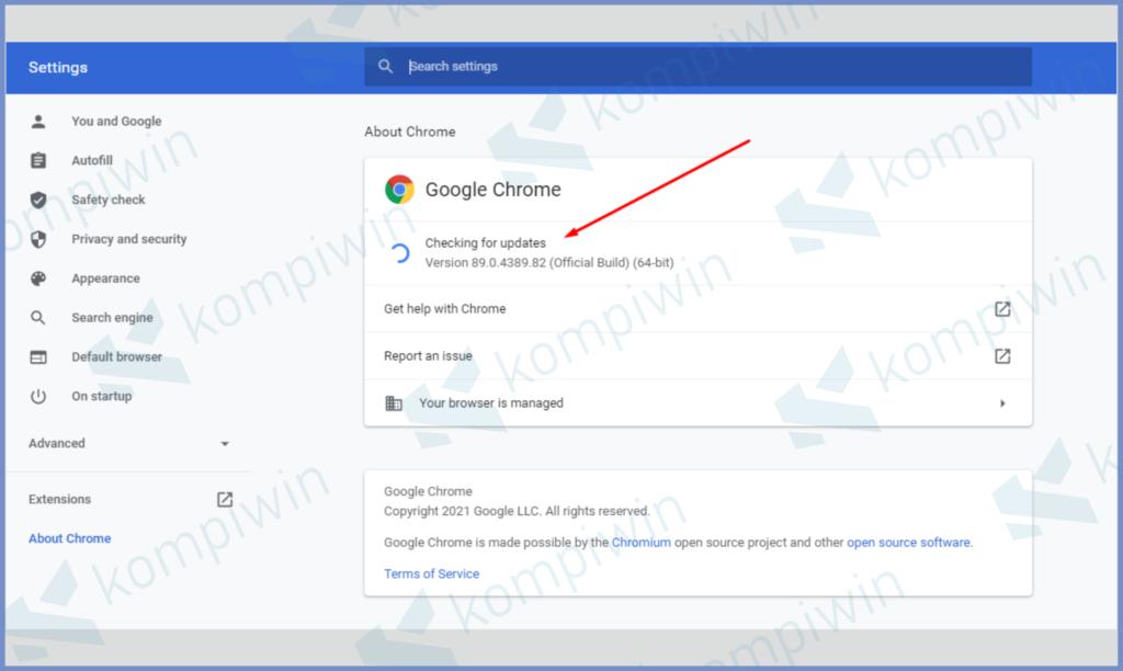 Perhatikan Versi Chrome, Jika Saatnya Update Klik Install
