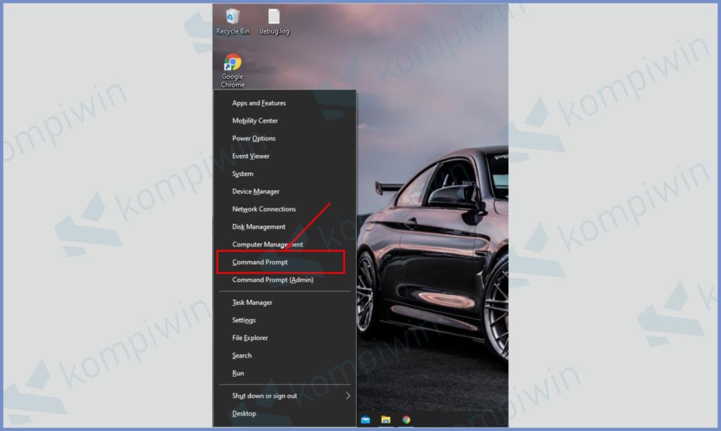 Windows X Kemudian Command Prompt