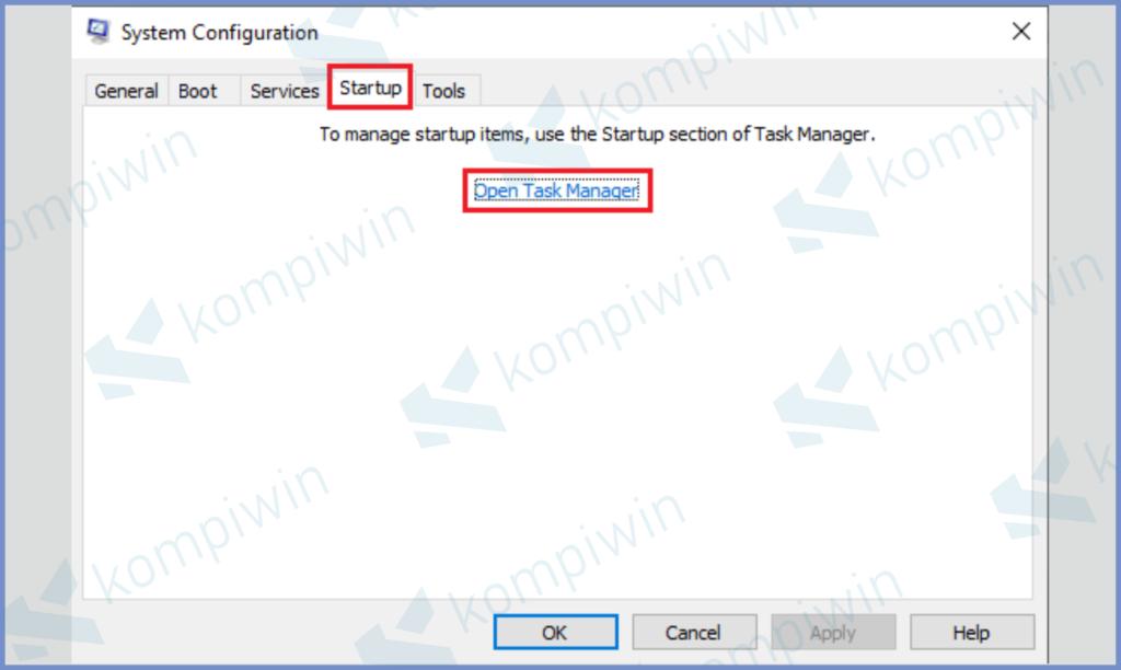 Arahkan Ke Startup dan Klik Open Task Manager