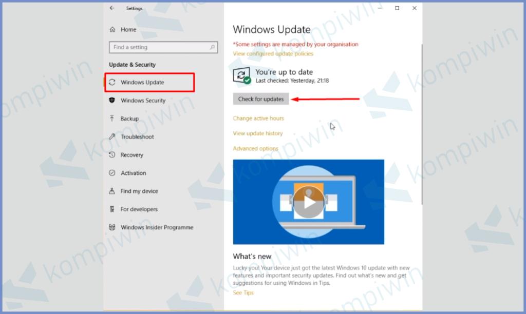 Arahkan Ke Windows Update Dan Update OS