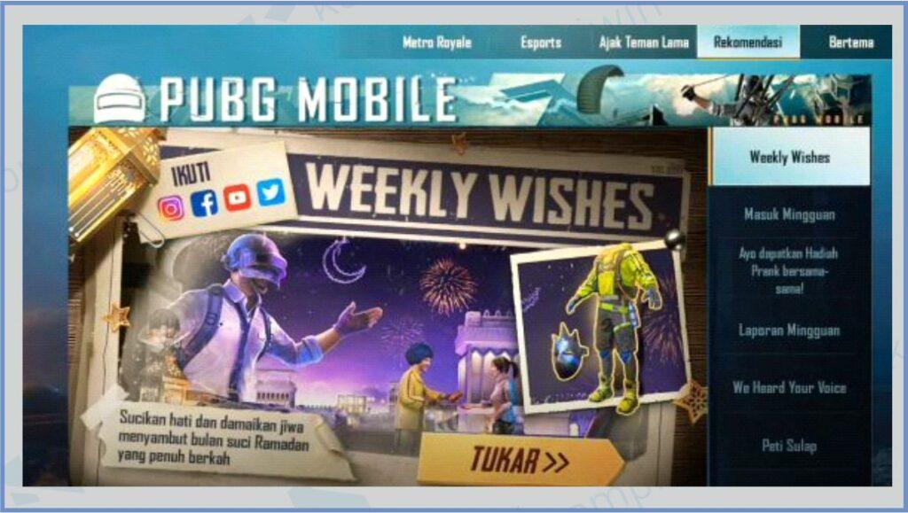 Buka Game PUBG - Kode Redeem PUBG Weekly Wishes Ramadhan 2021