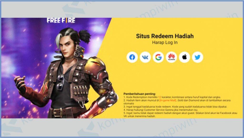 Buka Situs Redeem FF - Kode Redeem 7M Followers FF
