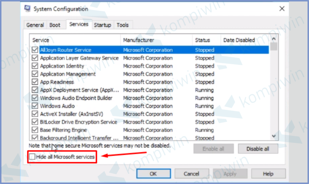 Centang Hide All Microsoft Services