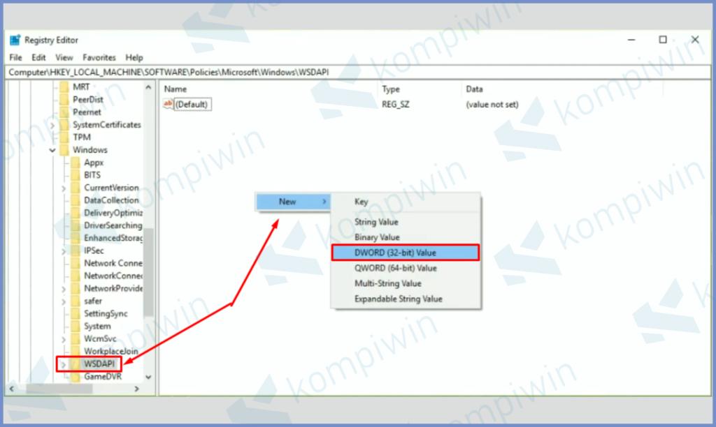 Di Dalam Folder WSDAPI Pilih New Dan Tap DWORD 32 Bit