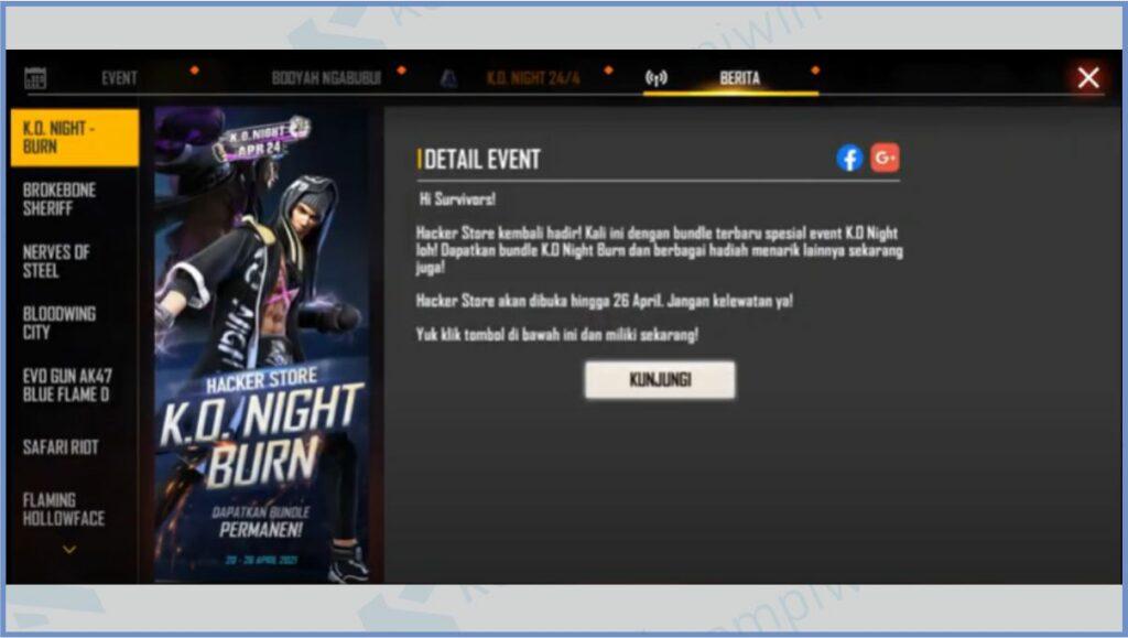 Klik Berita Dan Pilih K.O Night Burn - Bundle King Boxer FF 2021