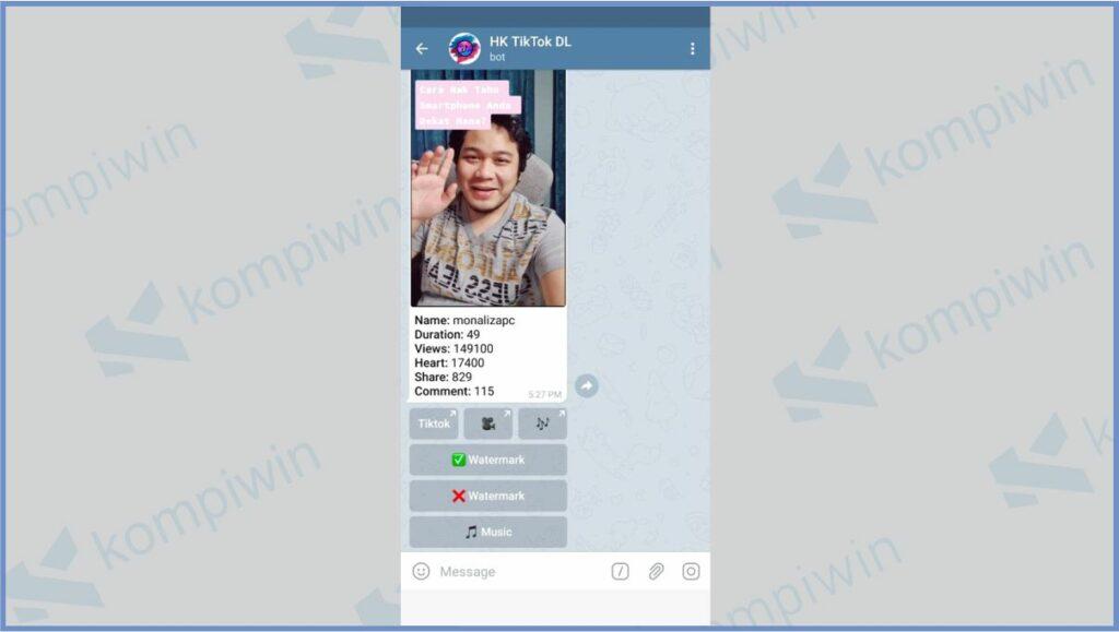 Klik X Watermark Untuk Download Video TikTok Tanpa Watermark - Bot HK TikTok DL