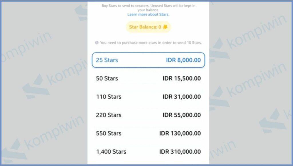 List Konversi Star Facebook Ke Rupiah - Berapa Rupiah 2500 Star Facebook
