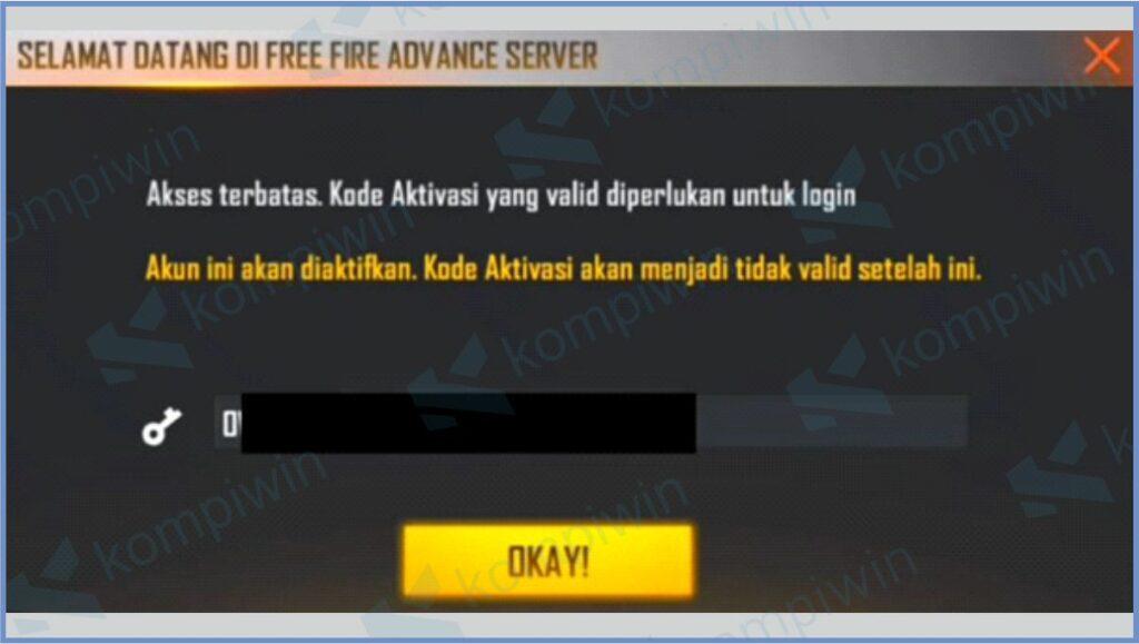 Masukkan Kode Aktivasi - Kode Aktivasi Advance Server FF (Free Fire)