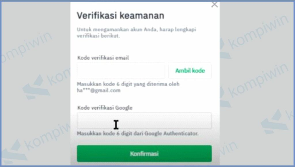 Masukkan Kode Verifikasi Google - Cara Withdraw Tokocrypto