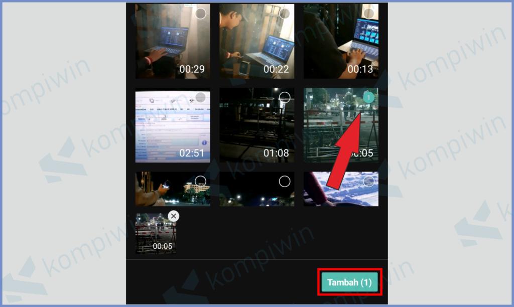 Pilih Video Dan Pencet Tambah