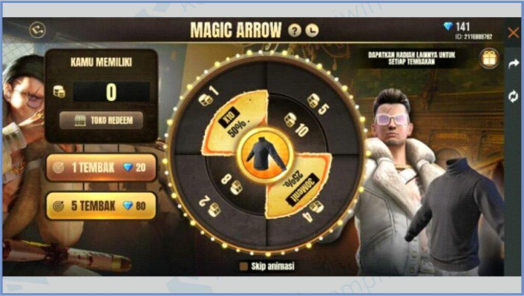 Spin Magic Arrow - Cara Mendapatkan Black Turtleneck FF