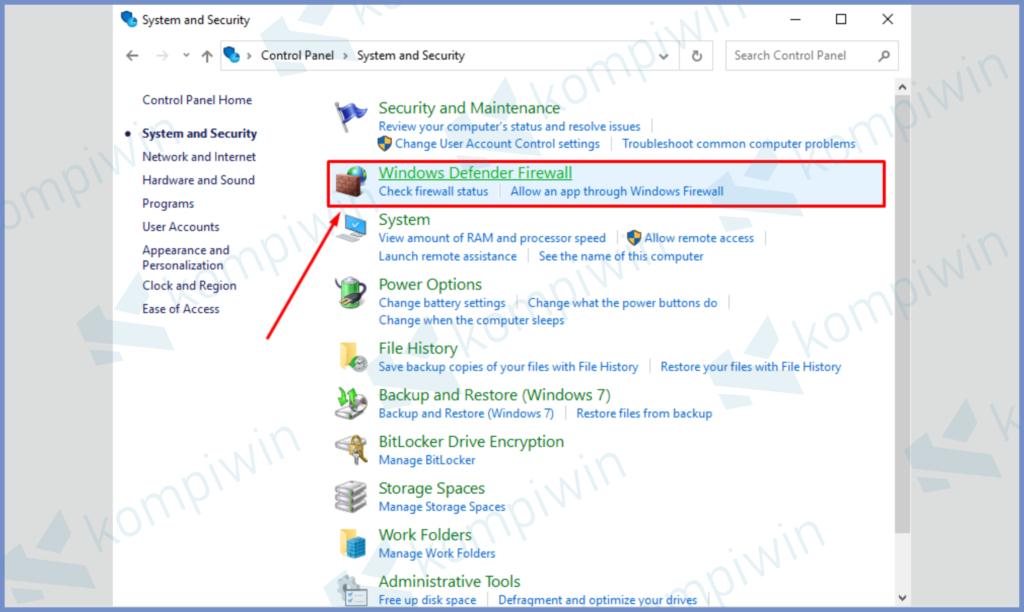 Tap Windows Firewall