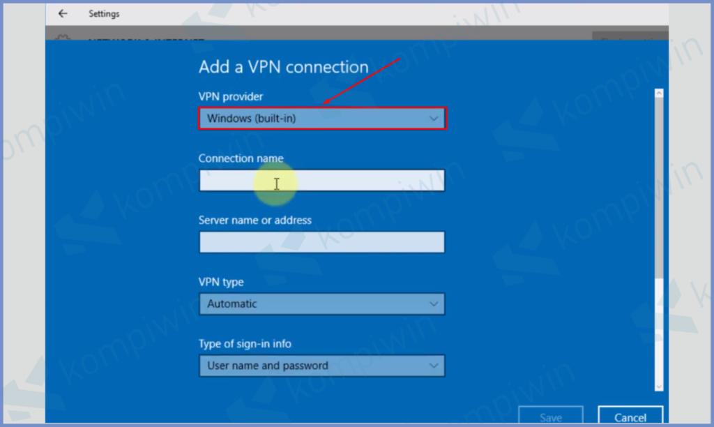 Ubah VPN Adapter Menjadi Windows Built In